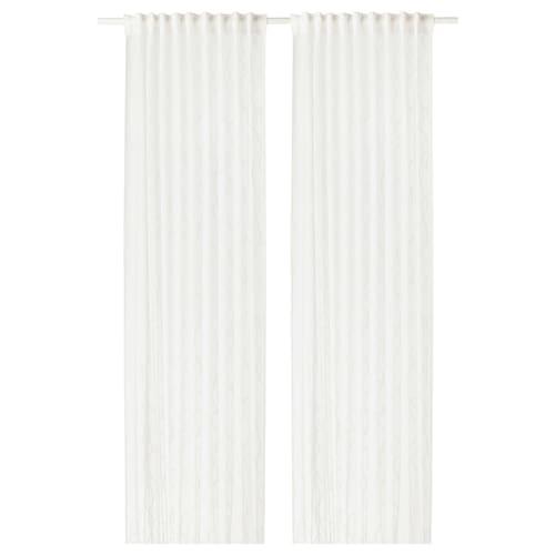 SPARVÖRT florlette gardiner, 1 par hvit 250 cm 145 cm 3.63 m² 2 stk.