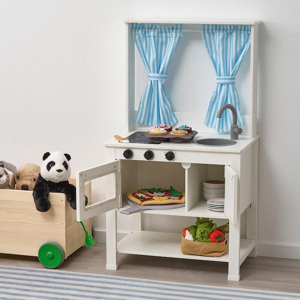 SPISIG lekekjøkken med gardiner 55 cm 37 cm 98 cm