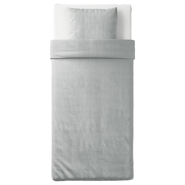 SPJUTVIAL Dynetrekk og putevar, lys grå/melert, 150x200/50x60 cm