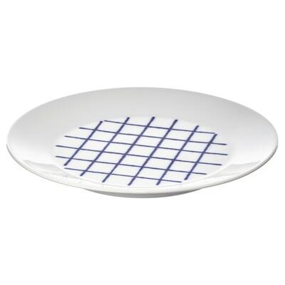 SPORADISK Tallerken, hvit/blå, 20 cm