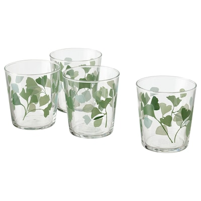 STILENLIG Glass, klart glass bladmønstret/grønn, 30 cl