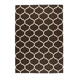 STOCKHOLM teppe, flatvevd, håndlaget nettmønster, brun nettmønster brun