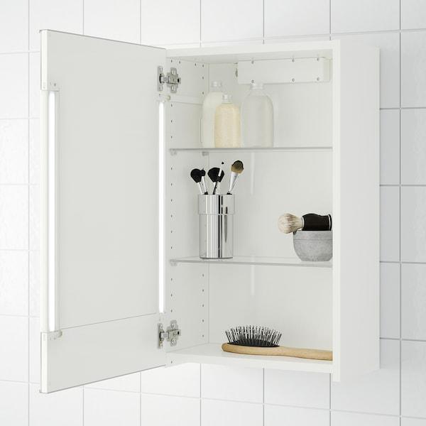 STORJORM Speilskap 1 dør/integrert belysning, hvit, 40x21x64 cm