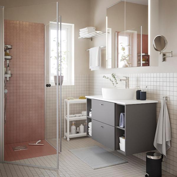 STORJORM Speilskap 2 dør/integrert belysning, hvit, 100x14x96 cm