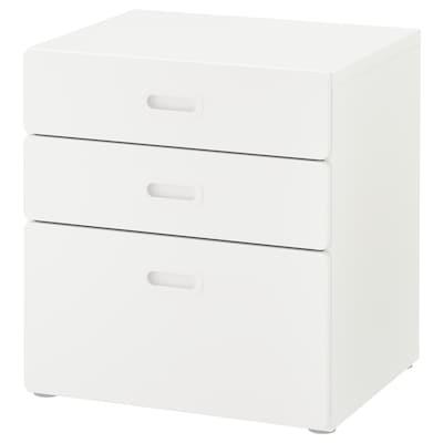 STUVA / FRITIDS kommode med 3 skuffer hvit/hvit 60 cm 50 cm 64 cm