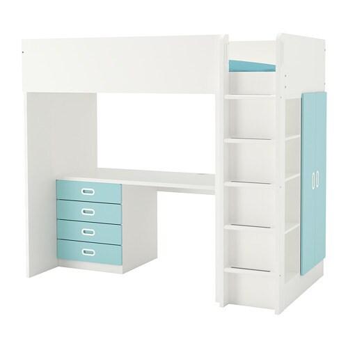 stuva seng STUVA / FRITIDS Loftsseng m 4 skuffer/2 dører   hvit/lys blå   IKEA stuva seng