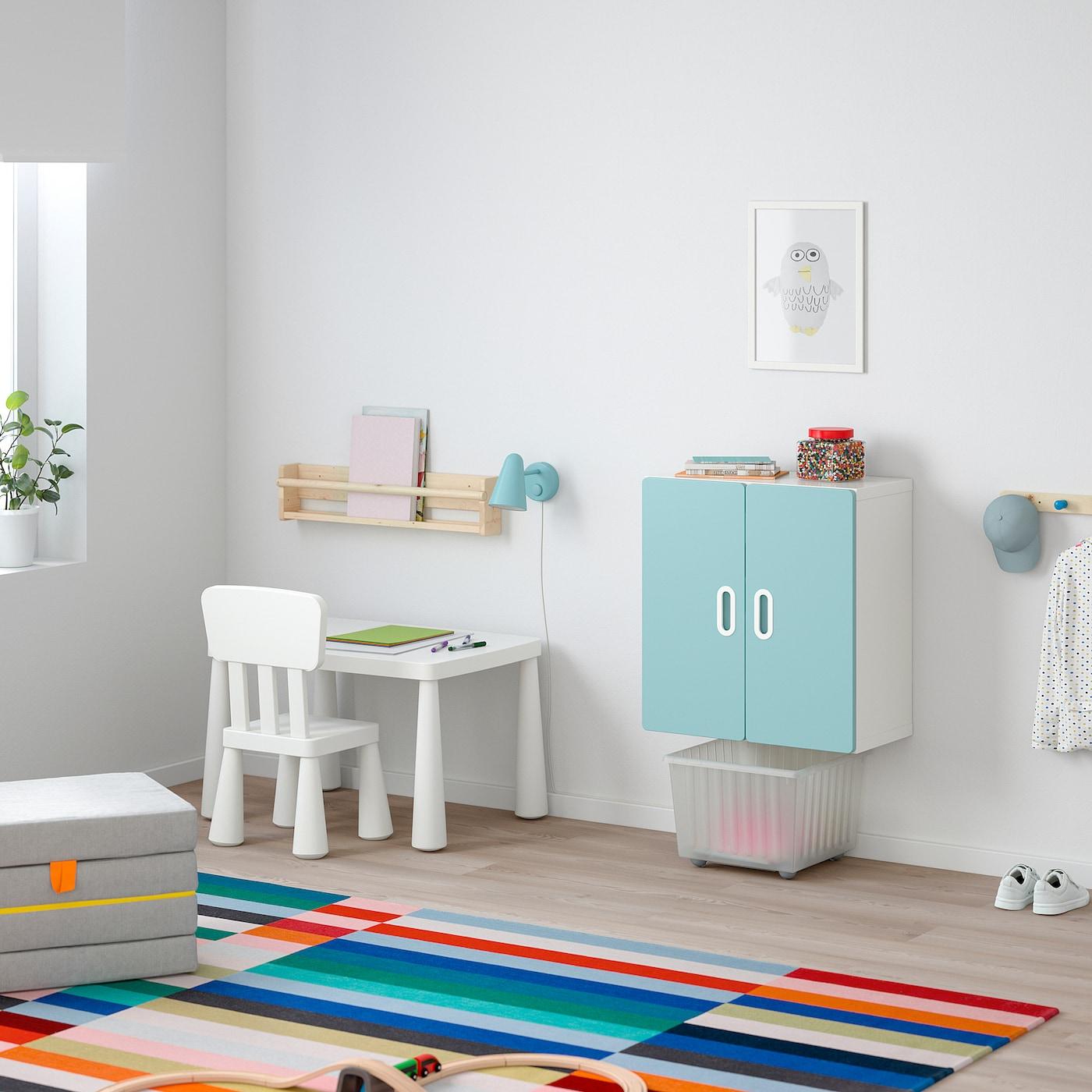STUVA / FRITIDS veggskap hvit/lys blå 60 cm 30 cm 64 cm
