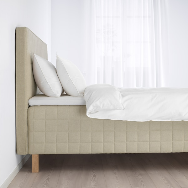 STUVLAND madrass med hodegavl fast/Tistedal natur 200 cm 160 cm 13 cm 110 cm