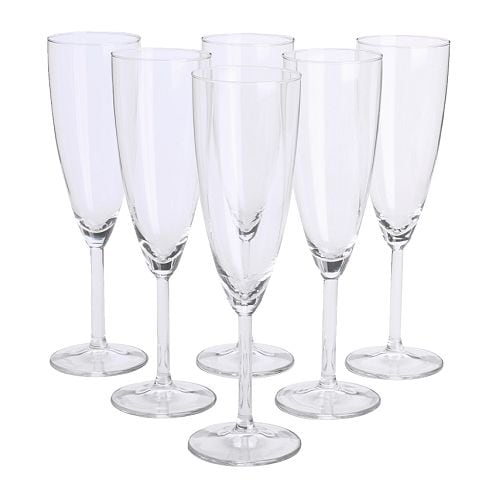 SVALKA Champagneglass, klart glass Høyde: 22 cm Volum: 15 cl Antall i pakken: 6 stk.