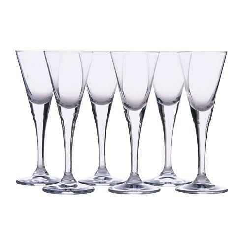 SVALKA Drammeglass, klart glass Høyde: 14 cm Volum: 4 cl Antall i pakken: 6 stk.