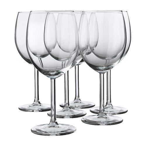 SVALKA Rødvinsglass, klart glass Høyde: 18 cm Volum: 30 cl Antall i pakken: 6 stk.