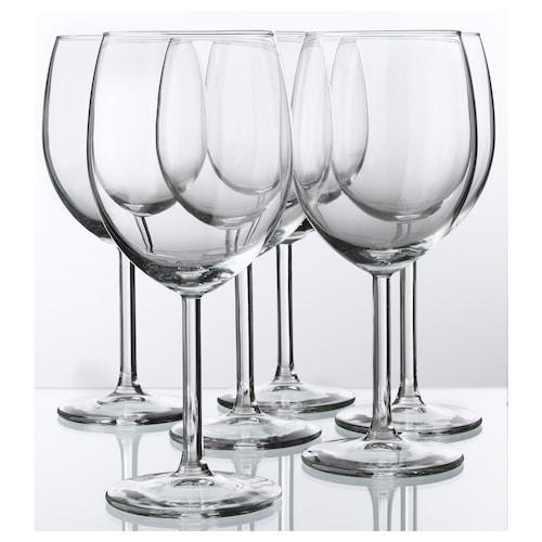 SVALKA vinglass klart glass 18 cm 30 cl 6 stk.
