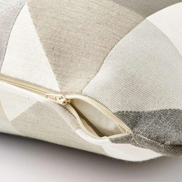 SVARTHÖ Putetrekk, grå/beige, 50x50 cm