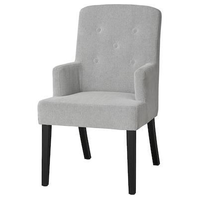 SVENARNE Stol med armlener, Tallmyra hvit/svart
