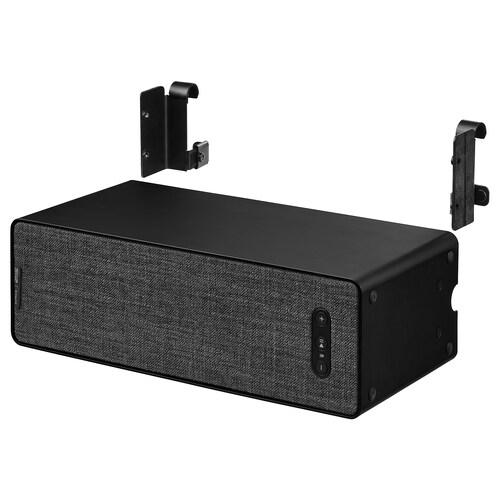 SYMFONISK / SYMFONISK bokhyllehøyttaler med krok svart 10 cm 15 cm 31 cm