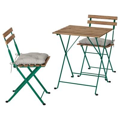 TÄRNÖ bord + 2 stoler, utendørs mørk grønn / lys brunbeiset/Kuddarna grå
