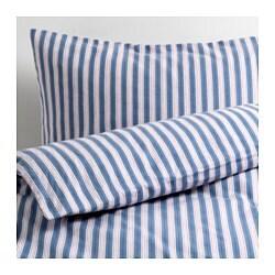 TAGELSTARR enkelt sengesett, blå, stripe rød