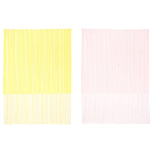 TIMVISARE kjøkkenhåndkle gul/lys rosa 70 cm 50 cm 2 stk.