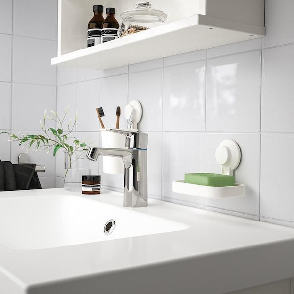 TISKEN Tannbørsteholder med sugekopp, hvit