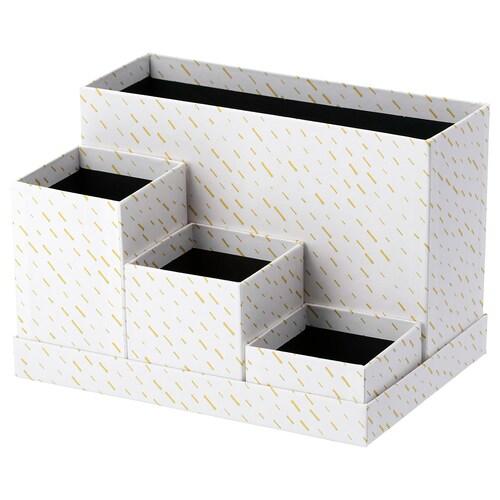 TJENA oppbevaring til arbeidsbord hvit/prikkete 17.5 cm 25.0 cm 17.0 cm