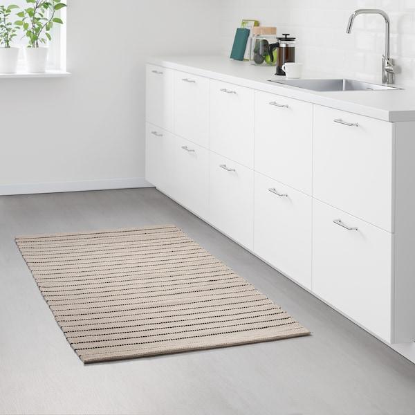 TÖRSLEV Teppe, flatvevd, stripe hvit/svart, 80x150 cm
