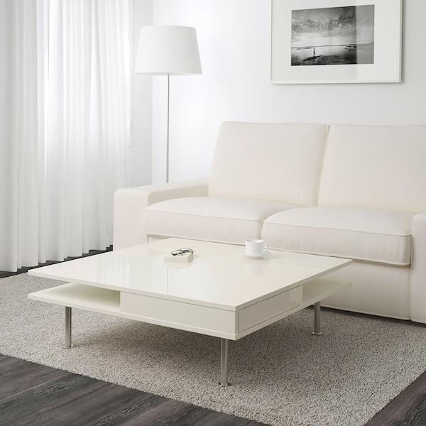 TOFTERYD Bord, høyglans hvit, 95x95 cm