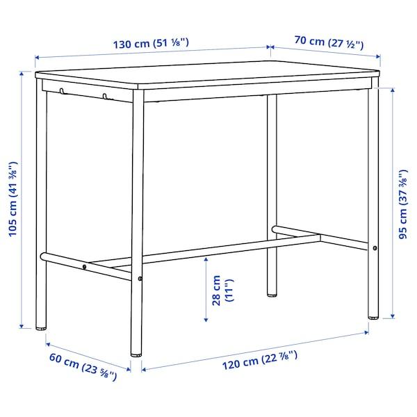 TOMMARYD Bord, hvitbeiset eikefiner/antrasitt, 130x70x105 cm