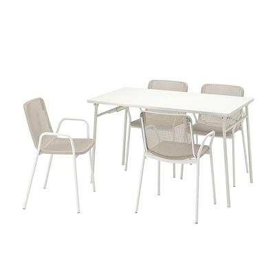 TORPARÖ Bord + 4 stoler m armlener, utend, hvit/beige, 130 cm