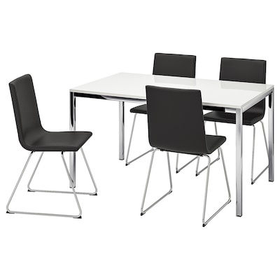 TORSBY / VOLFGANG bord og 4 stoler høyglans hvit/Bomstad svart 135 cm 85 cm 73 cm