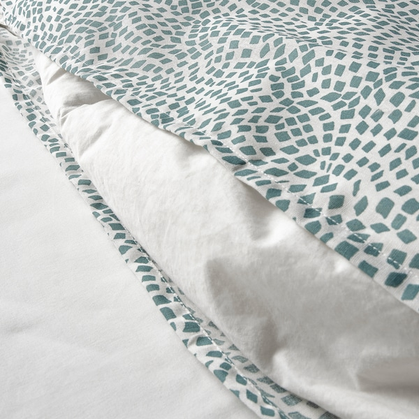 TRÄDKRASSULA Dynetrekk og putevar, hvit/blå, 150x200/50x60 cm