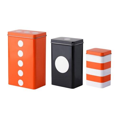 TRIPP Boks med lokk, sett med 3 , oransje, svart Lengde: 12 cm Høyde: 18 cm Bredde: 8 cm