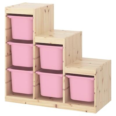 TROFAST Oppbevaringskombinasjon, hvitbeiset furu/rosa, 94x44x91 cm