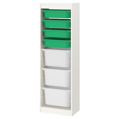 TROFAST Oppbevaringskombinasjon med bokser, hvit/grønn hvit, 46x30x145 cm