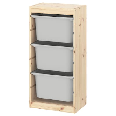 TROFAST Oppbevaringskombinasjon med bokser, hvitbeiset furu/grå, 44x30x91 cm