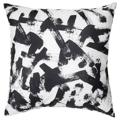 TURILL Pute, hvit/svart/grå, 40x40 cm