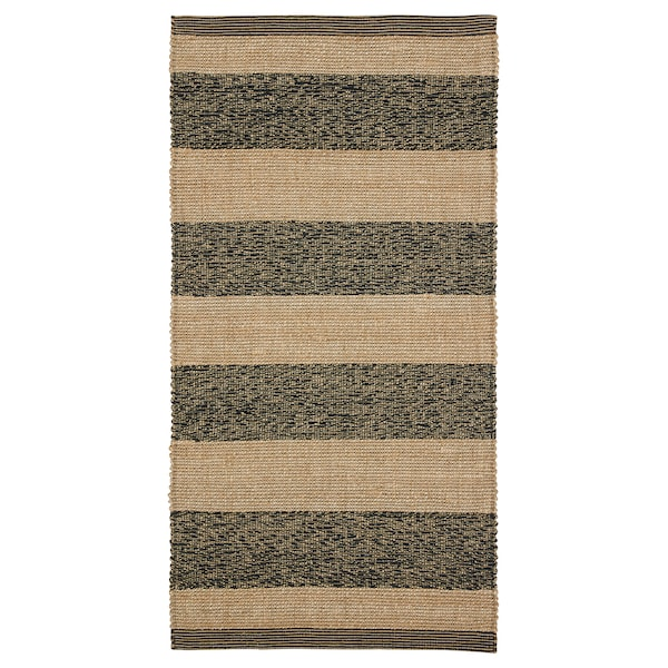 UGILT Teppe, flatvevd, svart/beige, 80x150 cm
