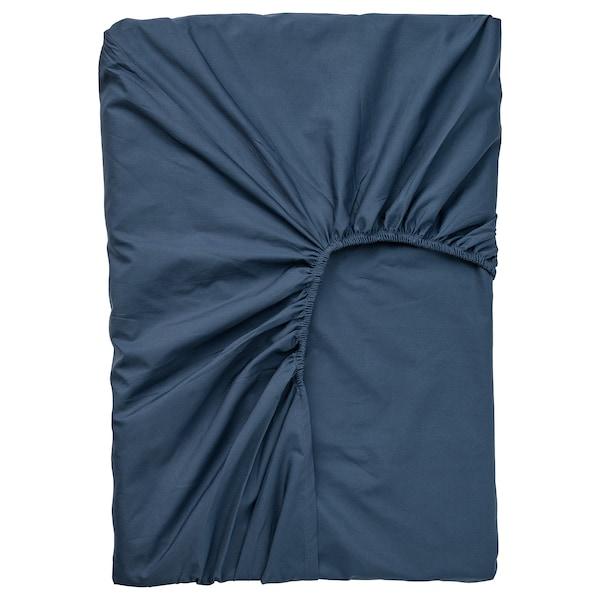 ULLVIDE Fasongsydd laken for overmadrass, mørk blå, 160x200 cm