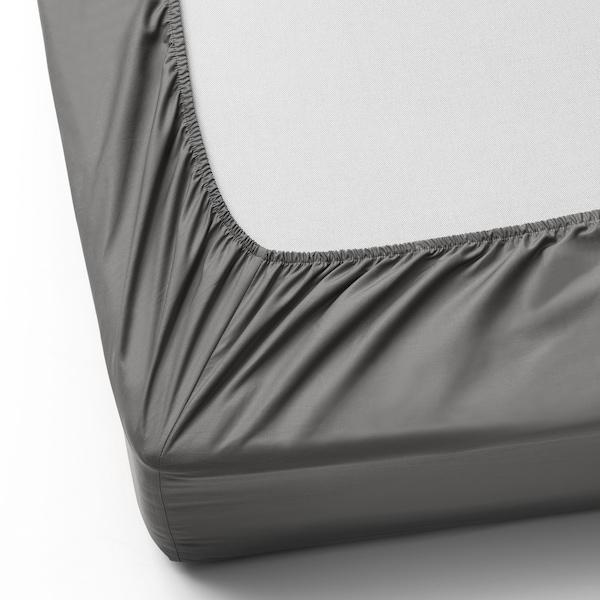 ULLVIDE Laken, fasongsydd, grå, 180x200 cm