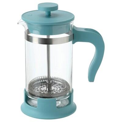 UPPHETTA Kaffe-/tepresse, glass/mørk turkis, 0.4 l