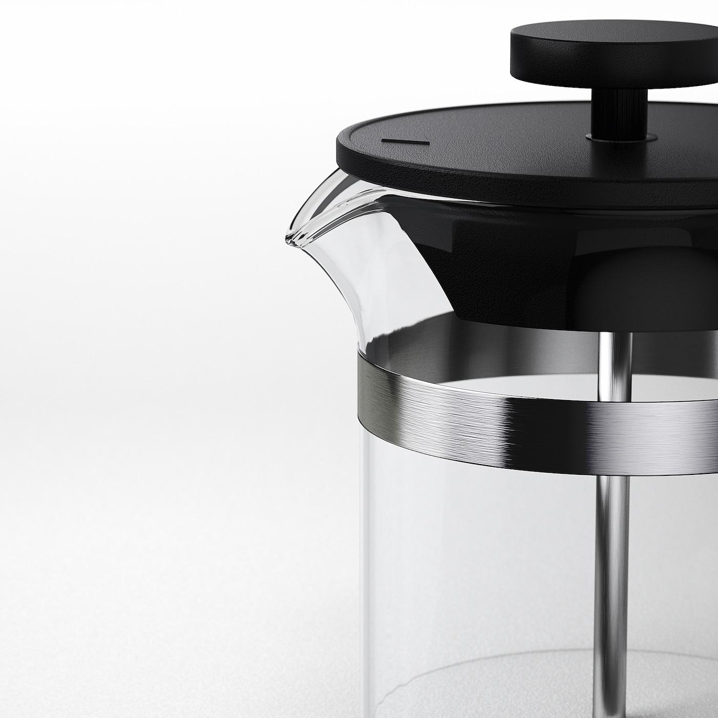 UPPHETTA Kaffe-/tepresse, glass/rustfritt stål, 0.4 l
