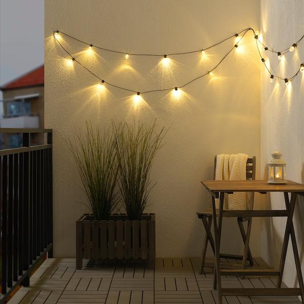 UTSUND LED-lyslenke med 24 lys, utendørs svart