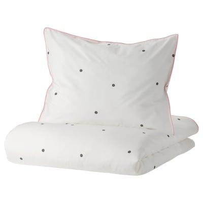 VÄNKRETS Dynetrekk og putevar, prikker hvit/rosa, 150x200/50x60 cm