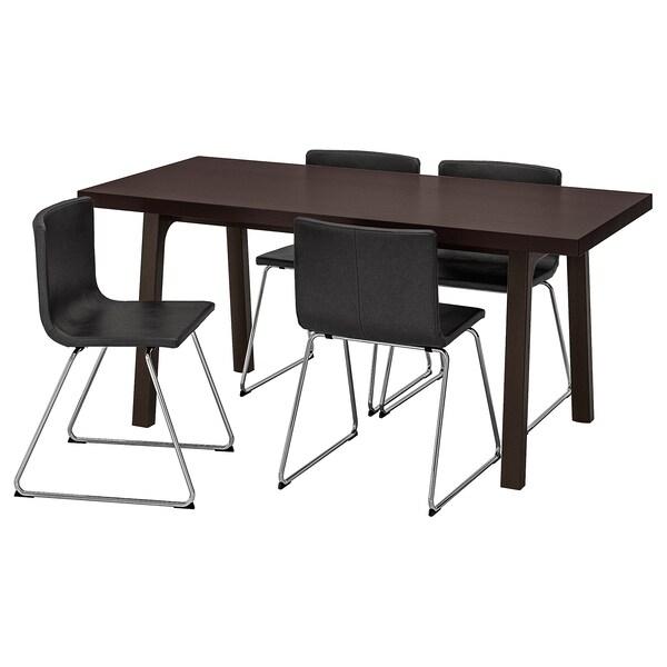 VÄSTANBY/VÄSTANÅ / BERNHARD bord og 4 stoler mørk brun/Kavat mørk brun 170 cm 78 cm 75 cm