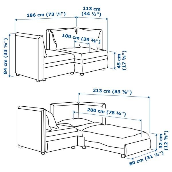 VALLENTUNA 2-seters modulsofa med seng, og oppbevaring/Murum hvit
