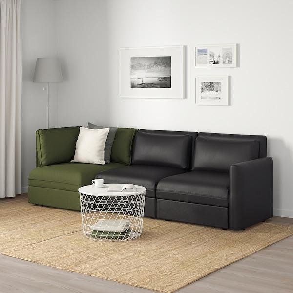 VALLENTUNA 3-seters modulsofa, med oppbevaring/Murum/Orrsta svart/olivengrønn