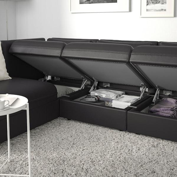 VALLENTUNA 3-seters modulhjørnesofa + seng og oppbevaring/Murum svart 93 cm 84 cm 266 cm 193 cm 80 cm 45 cm 80 cm 200 cm