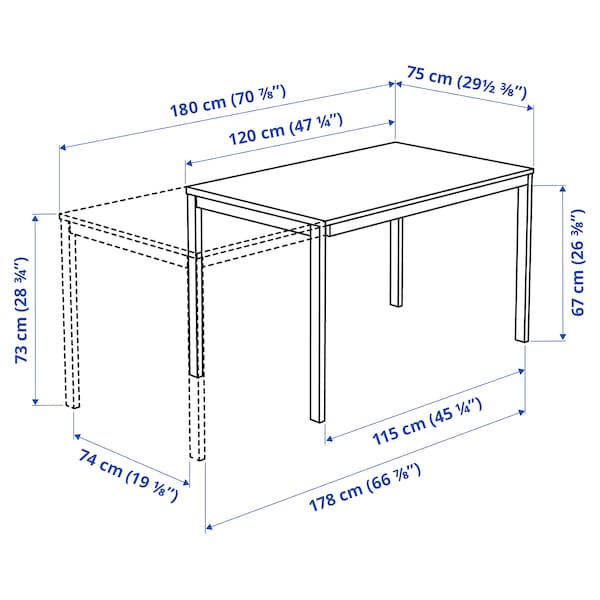 VANGSTA Uttrekkbart bord, hvit, 120/180x75 cm