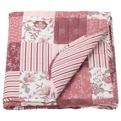 VÅRRUTA sengeteppe hvit/rosa 250 cm 260 cm