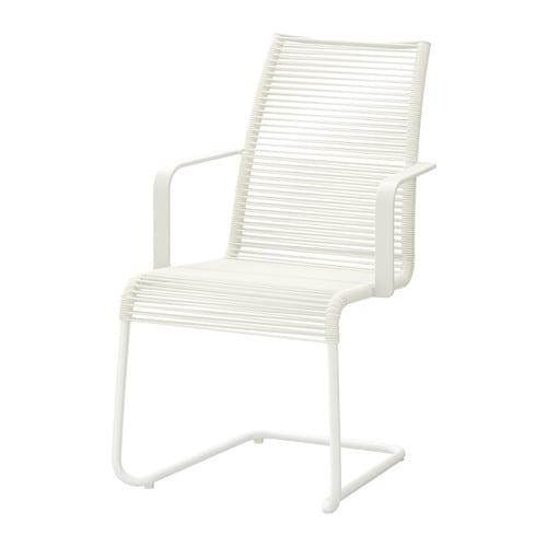 VÄSMAN Stol med armlener, utendørs , hvit Bredde: 54 cm Sete bredde: 46 cm Høyde: 92 cm / 92 cm Setehøyde: 44 cm / 44 cm