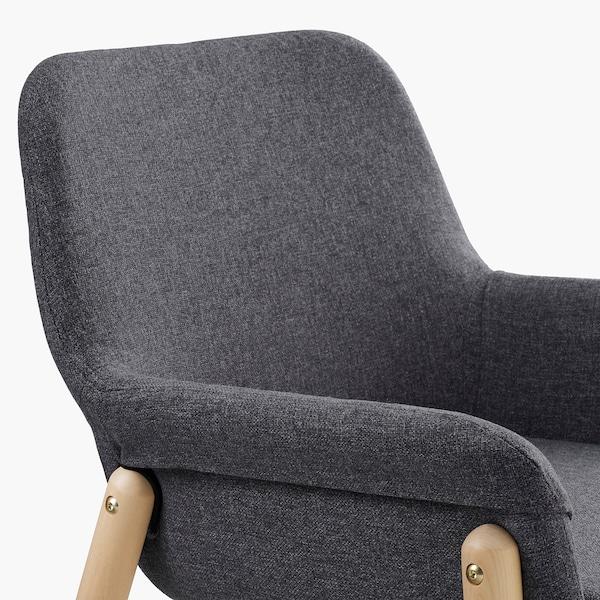 VEDBO stol med armlener bjørk/Gunnared mellomgrå 110 kg 65 cm 61 cm 84 cm 40 cm 44 cm 47 cm